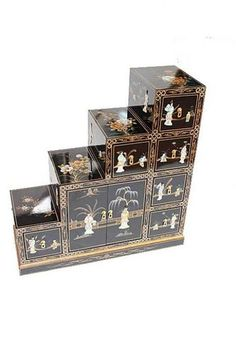 black lacquered with mother of pearl step cabinet oriental furniture chinese ebay39900 black lacquer furniture paint