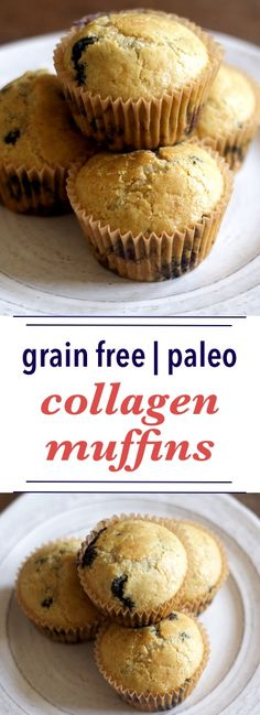 Paleo Collagen Muffins - Delicious and easy! I was worried the coconut flavor would be overpowering, but it wasn't. Used 2/3 c. frozen blueberries and added 2 Tbsp chia seeds at the end. I recommend parchment paper muffin liners, because they bake up cleanest. Silicone holds in too much moisture for this type of muffin. ~nw