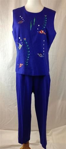 Adorable 2 Piece Romper Set Capris Top Linen Angel Clown Fish Marine Blue Sz 8 | eBay $29.95