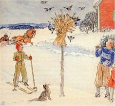 Carl Larsson -- This is the straw Norwegians put out for the birds on Christmas, basically to give back to nature. Carl Larsson, Scandinavian Art, Scandinavian Christmas, Winter Illustration, Illustration Art, Moritz Von Schwind, Norwegian Christmas, Winter Scenes, Christmas Art