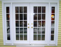 Size Of Exterior French Doors - Fiberglass exterior doors hold the custom capabilities of carvings, glass, decorative metals Sliding French Doors, Garage Doors, Exterior Doors With Sidelights, French Doors Exterior, Front Door Christmas Decorations, French Windows, Doors Interior, French Sliding Doors Exterior, Exterior Door Designs