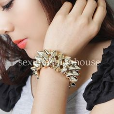 Cool Punk CCB Rivets Elastic Stretch Bracelet Wristband Jewellery Adjustable