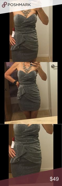 """Foreign Exchange Silver Sparkly strapless Dress Stunning and very figure flattering sparely dress by Foreign Exchange. Dress has built in padded cups.  measures 14 1/2"""" across bust and 26"""" long.  New with tags. Foreign Exchange Dresses Mini"""