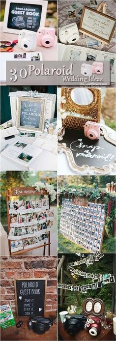 rustic country polaroid wedding decor ideas / http://www.deerpearlflowers.com/creative-polaroid-wedding-ideas/