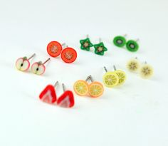#earrings #edible #accessories - SO CUTE! 7 Day Stud Plus One Free. Handmade miniature polymer clay food jewlery. $20.00, via Etsy.