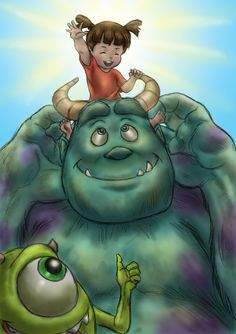 Sullivan, Wazowski and Boo by Ruby3ye5.deviantart.com