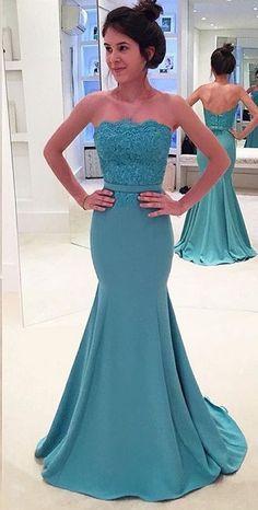 Strapless Mermaid Evening Dress with Belt,Elegant Dress for Evening,Prom Dresses M2927