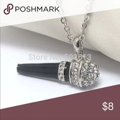 Platinum Rhinestone Microphone Crystal Necklace Platinum Rhinestone Microphone Bling Necklace Specifics Item Type Necklace Pendant Size 2.8 Necklace Type Pendant Material Rhinestone Chain Type Link Chain Chain Length 45cm with 5cm tail Chain Metals Type Platinum Plated Zinc Alloy Shape\Pattern Microphone Jewelry Necklaces
