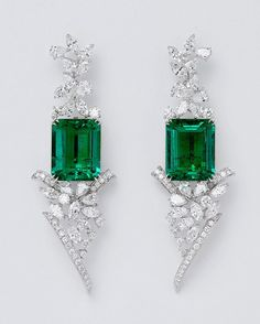 Qiu Fine Jewellery.  Via IEEX (UK) @muzoemeralds. Important Colombian emerald & diamond earrings from our 'Shanghai, Shanghai' collaboration with top Chinese jeweller @qiuqiu_he - With a combined emerald weight of nearly 30 carat expertly calibrated by Ricardo here in our Bogota workshop. Forms part of our 'master set', further info to follow. Gubelin certified 'minor'.