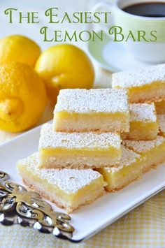 Super Easy Lemon Bars- I tried this and it was very good!:) would only cook the crust for 10 mins before next time!
