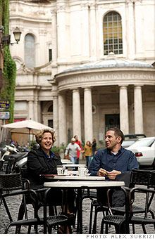 Enjoying espresso with a client a Cafe della Pace in Rome. This photo was from a Fortune Magazine shoot but I've spent many hours having cafe & conversation at this place. ( ~ expat in Rome ~ )