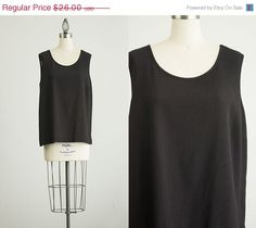 SALE 20 Off 90s Vintage Black Slouchy Tunic Tank Top / by decades