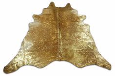 Gold Metallic Cowhide Rug Size: 7.3' X 7.5' ft i-284 Beige Background Metallic  #CowhidesUSA #AcidWashed