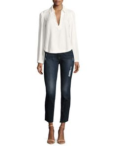 Le High Skinny Crop Cascade Hem Jeans, Blue and Matching Items by FRAME at Neiman Marcus.