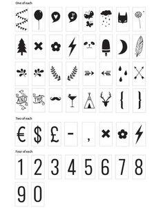 Lightbox symbolen en nummers set