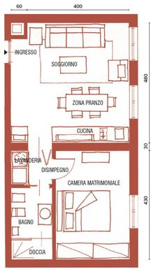 pianta Mini House Plans, Small House Floor Plans, Studio Apartment Layout, Small Studio Apartments, Bungalow, Tiny House Cabin, Tiny House Design, Architectural Floor Plans, Small Cottage Homes