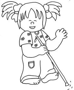 A Girl With Disability Learn To Read Coloring Page : Kids