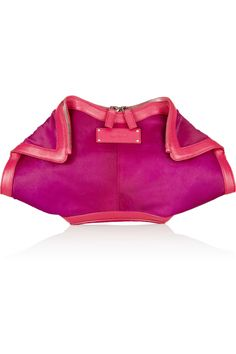 De Manta leather-trimmed calf hair clutch by Alexander McQueen