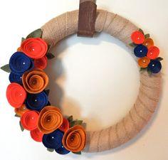 Fall Door Wreath-Wool Felt Flowers by TheBeautifulDoor on Etsy