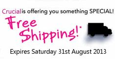 Free Shipping At Crucial Added Monday 1st April 2013, Expires Saturday 31st August 2013 http://www.vouchercodesuae.com/crucial.com