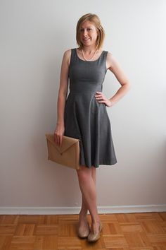 Simple grey skater dress classed up with pearls. hishersits.blogspot.ca