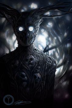 dark fantasy art A very interesting take on the Beast by SigneRJArts : overthegardenwall Dark Fantasy Art, Fantasy Kunst, Fantasy Artwork, Demon Artwork, Dark Creatures, Fantasy Creatures, Monster Art, Tree Monster, Shadow Monster