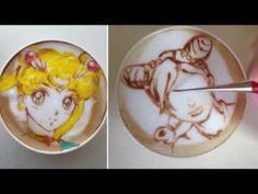 Latte art: Japanese barista Sugi draws Sailormoon on latte - YouTube