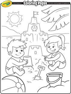 Building Sand Castle Coloring Page.