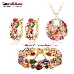 LZESHINE New 2016 Christmas Multicolor Zircon Women Bridal Jewelry Set Gold Color Earring Stud/Necklace/Bracelet Wedding Jewelry