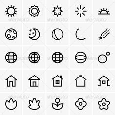 abstract, earth, flower, globe, graphic design, home, house, icon, moon, nature, night, pictogram, planet, set, solar, sphere, star, sun, sunlight, vector >>> Have a look at even more at the image link