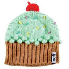 54328975369 Neff Cupcake Beanie Authentic NWT Knit Winter Cap Hat - Mint w  Sprinkles  Pom