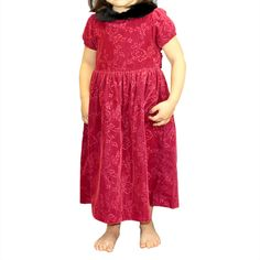 Gymboree Victorian Charm Red Velvet Faux Fur Rose Dress (3 year)