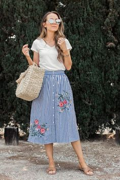 Striped Embroidered Midi Skirt A simple t-shirt and fun midi skirt make a perfect summer outfit that feels effortless, polished, and still semi casual. Try this combo in your closet! Cool Summer Outfits, Spring Outfits, Cool Outfits, Fashion Outfits, Womens Fashion, Fashion Fashion, Hot Weather Outfits, Sporty Fashion, Color Fashion