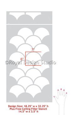 Our Moroccan Scallops Wall Stencil is ageometricfish scale designthat is a classic pattern with a modern feel. This stencil includes a FREE ceiling filler st Wall Stencil Patterns, Stencil Diy, Stencil Designs, Stenciling, Tile Stencils, Stencil Printing, Stencil Painting On Walls, Diy Painting, Floor Painting