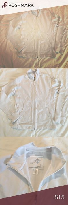 """Lucy Zip Front White Jacket Size Large In excellent condition, worn 1-2 times.  Size large.  Zip front, pockets.  Trim fit.  Size large.  Armpit to armpit measures 18.5"""", length is 25"""".  Fabric is 66% cotton, 27% polyester, 7% spandex.  Lightweight. Lucy Tops Sweatshirts & Hoodies"""