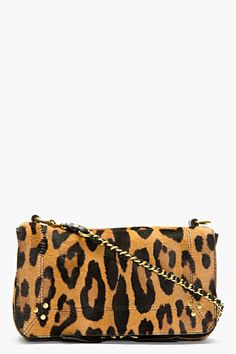 JEROME DREYFUSS // TAN CALF-HAIR LEOPARD PRINT BOBI SHOULDER BAG