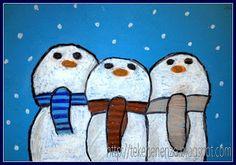 Leuke tekenles! Sneeuwmannen op een rij. #onderwijs