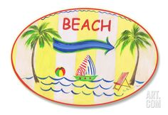 "Beach w/Arrow Oval Wood Sign at Art.com, Item #: 14667471067A. 15"" x 10"". OVERSIZED! Make any home feel like a vacation home with these delightful beach-themed wall plaques. Featuring breezy seaside scenes and nautical notions, they are sure to inspire island appeal in any room of the house. Hand-finished on sturdy ½-inch-thick medium-density fiberboard and features a hand-painted coved border and a sawtooth hanger for quick and easy installation. $29.99"
