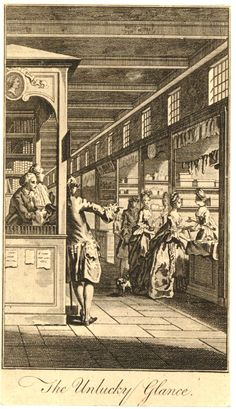Gravelot, 1765-1800  A gallery with in the left foreground a young man leaning on a bookseller's booth and pointing at two ladies shopping at a lace-seller at right; a scene from Corneille's 'La Galerie du Palais', from an unidentified publication