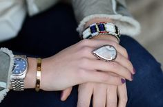 Pamela Love ring + Isabel Marant bracelet + Cartier love bracelet, Yesterday in grey