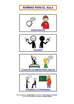 """MATERIALES de ARASAAC - """"Normas para la clase"""". Conjunto de tarjetas para trabajar las normas básicas de comportamiento en el aula. http://arasaac.org/materiales.php?id_material=907 Normas para la clase by Pili Fernández, via Slideshare"""