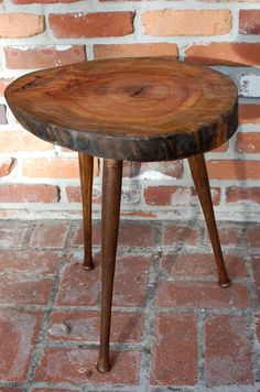 Reclaimed Wood Furniture, Tree Slice Table, Wood Stump Side Table, Small Wood  Table