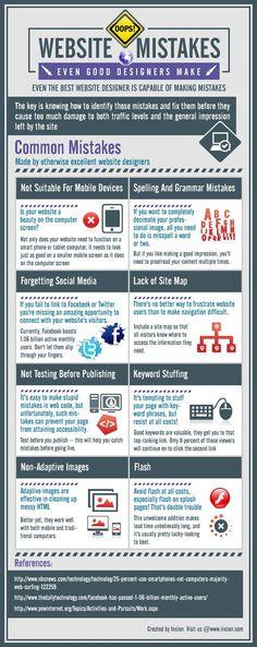 8 Stupid Website Mistakes Even Good Designers Make #WebDesign #Infographic