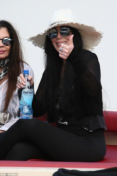 3a1d9140ee Cher Enjoying Her Vacation in Loree Rodkin Scarlet Sunnies by Sama Cher  Bono