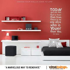 Dr Suess Childrens bedroom decal - Wall Decals - Today you are you, That is truer than true. Kids Decal on Etsy, $23.00