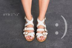 Summer Sandals.  Valerio White sandals. Summer shoes, White leather straps with three buckles. Cork padding with a hint of gold. on Etsy, 610.71₪