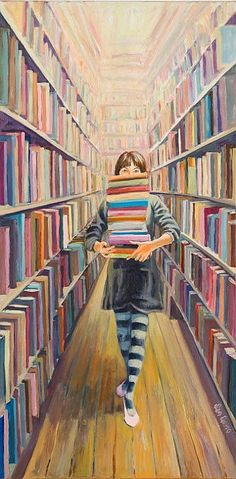 The piles of books in your hand in the isle at the library, the smell of books, that's a readers dream. I Love Books, Books To Read, My Books, Reading Art, Woman Reading, Reading Books, World Of Books, Lectures, Library Books
