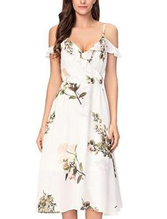 40ee84dd3f Noctflos Women's Summer Floral Cold Shoulder Midi Dress for Casual Cocktail  Wedding Guest