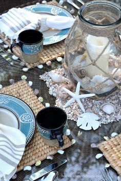 In Love with this New Beach-themed table Sea and Shell Tablescape ! So many Simple Table Decorating Ideas ! by Home is Where the Boat is