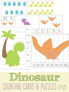 Fun dinosaur counting cards and puzzles for your toddlers and preschoolers
